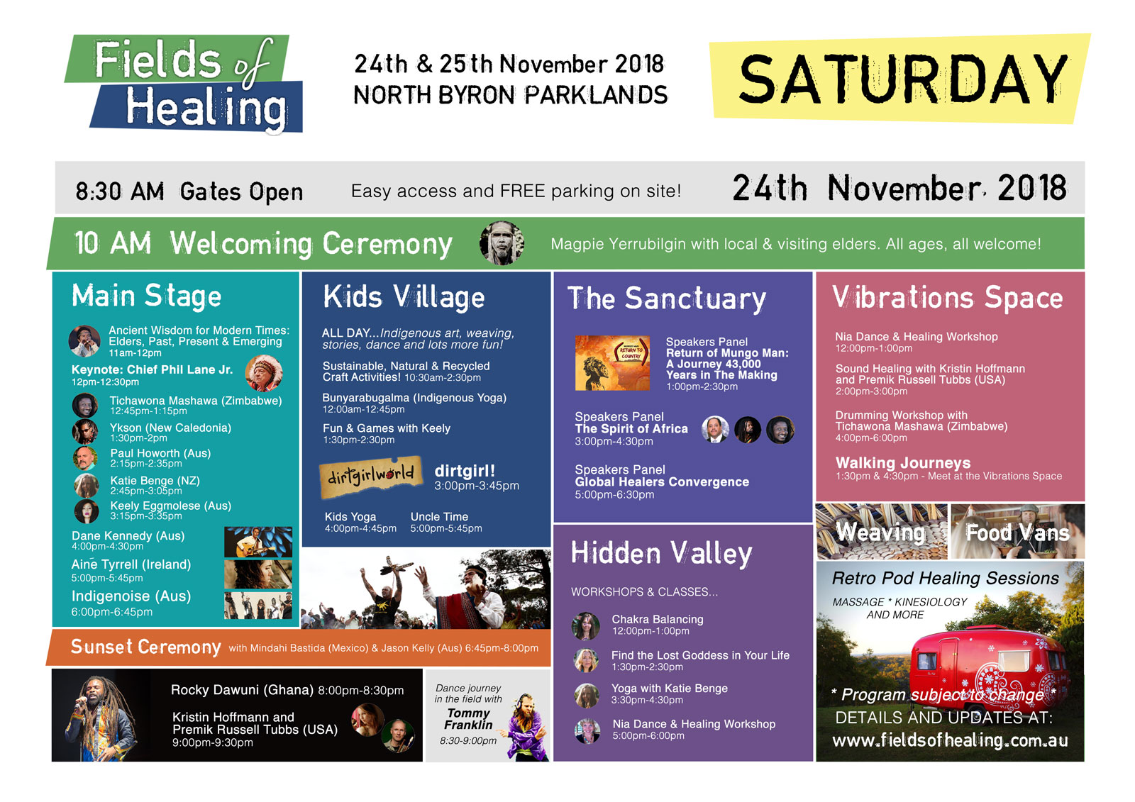Fields of Healing Saturday Schedule